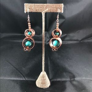 Brushed Copper Turquoise Dangle Earrings B-11-49